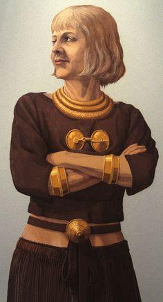Kvinde med smykkeudstyr fra Fyn, Danmark – Frau mit Schmucksachen aus Fyn, Dänemark – Woman with bronze equipment from Fyn, Denmark