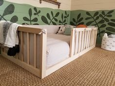 """Pre-order for 7/6/20 shipping. This listing is for a TWIN size frame. Our most popular floor bed now includes mattress slat supports (up to $80 value)! Make your toddler's switch from a crib to """"big kid"""" bed easy with our railed quality built floor bed! Handcrafted in Ohio, USA. Are you looking for a bed that grows wi Toddler Bed Frame, Diy Toddler Bed, Kids Bed Frames, Big Boy Bedrooms, Kids Bedroom, Little Boy Beds, Montessori Toddler Bedroom, Diy Bett, Look Office"""