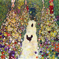 Gustav Klimt Garden Path with Chickens: In-depth history and analysis, featuring Gustav Klimt art posters and prints at: gustavklimtthekiss.com