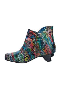 Vibrant graffiti print boot, all leather uppers, and insole. Pull on ankle boot with a comfortable yet exciting medium heel. The sole of the shoe is rubber. Heel height: 4.5 cms    Paterno Boot by Lisa Tucci. Shoes - Booties - Heeled East of England, England, United Kingdom
