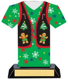 "7"" Christmas Sweater Trophy! Having an Ugly Christmas Sweater party? Or a decorating contest? Gingerbread house building competition? This is the perfect Christmas trophy for your event!"