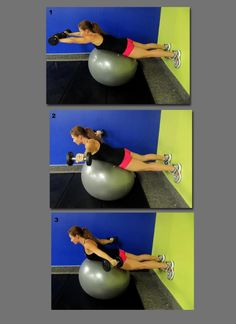 SUPERGIRL (via Smash Fit)    Works shoulders, triceps, back, abs, butt, thighs.     Lie with midsection on the ball and anchor feet on the wall. Without dropping the weights, hold each position for 3 seconds.    Position 1 - Extend arms in front of you parallel to the ground  Position 2 - Extend arms to the side parallel to the ground  Position 3 - Extend arms back at approx a 45 degree from your body    Rest then return to start position. Do 10-12 reps.    <a href='http://www.facebook.com/.....