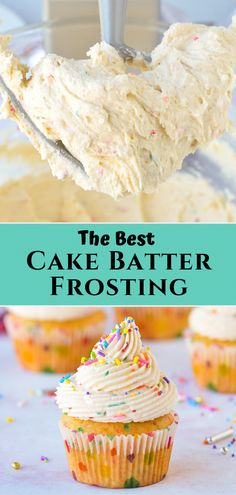 This cake batter frosting recipe is a. This cake batter frosting recipe is a buttercream frosting flavored with boxed cake mix and sprinkles making it a perfect funfetti frosting for birthday cakes and cupcakes! Birthday Cake Flavors, Cupcake Flavors, Birthday Cakes, Gourmet Cupcakes, Birthday Recipes, Icing Recipe For Cupcakes, Birthday Cake Frosting Recipe, Boxed Cake Recipes, Unique Cupcake Recipes