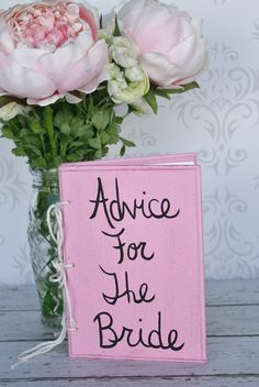 Bridal Shower Guest Book Pink Shabby Chic Wedding Decor.. there will definitely be one for the groom too will be twice as big