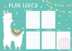 Plan lekcji do druku - z lamą. Kolorowy plan lekcji z wesołą lamą będzie idealnym do szkolnej papeterii Twojego dziecka. Taki plan lekcji możesz wydrukować w kilku egzemplarzach i przyczepić w wielu miejscach - przy biurku Twojego dziecka lub na lodówce. Kupujesz raz - drukujesz ile chcesz! #llama #schoolplanner #planner #llamalove #planlekcji School Planner, Cute Diys, Stupid Funny Memes, Nasa, Back To School, Ravenclaw, Bullet Journal, How To Plan, Organization