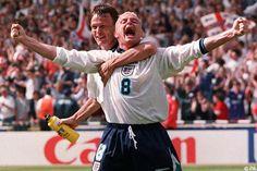 Gazza and Teddy Sheringham at Euro Bbc Football, National Football Teams, World Football, England International, International Football, Sports Day, Sports News, Norman Whiteside, England Football Players