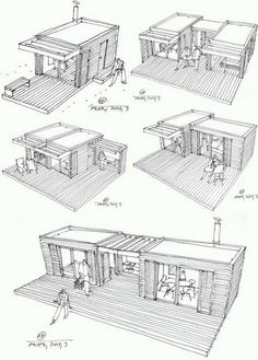 Modular Home Additions in rustic style >> The One house is a compact house design based on the principle of Legos – just add pieces to build on the structure. Each cottage-chic module measures and is prefabricated using local Swedish materials in a Container Architecture, Container Buildings, Container Home Designs, Rustic Coffee Shop, Coffee Shops, Coffee Coffee, Add A Room, Compact House, Casas Containers