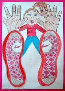 teaching perspective Art - twist on beginning of school year portraits with child's own hands/foot shapes Middle School Art, Art School, Artists For Kids, Art For Kids, Kid Art, Cc Drawing, Drawing Sheet, 2nd Grade Art, Third Grade