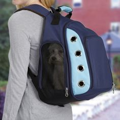 Canine Ultimate Backpack Dog Carrier allows for hands-free pet travel. Small Pet Carrier, Pet Travel Carrier, Airline Pet Carrier, Cat Carrier, Biking With Dog, Oui Oui, Dog Crate, Dog Accessories, Dog Supplies