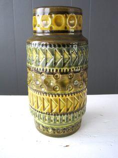 Vintage German Bay Pottery Vase 604-17, Bodo Mans Design, West Germany Produced, Bay Keramik, Retro, Modern, Mid Century