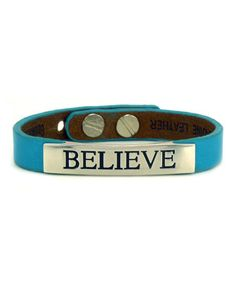 Another great find on #zulily! Happy Blue 'Believe' Leather Cuff by Good Work(s) Make A Difference #zulilyfinds