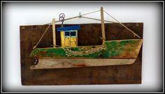 http://mutozinc.blogspot.fr/2014/11/la-gracieuse-groix-1961-creation-en.html Driftwood boat, bateau bois flotté