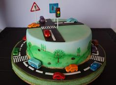 Cars cake & hand painted scenary