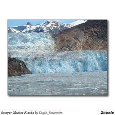 Sawyer Glacier Alaska Postcard  #sawyer #glacier, #alaska, #tracy #arm #fjord, #glacier, #mountain #nature, #ice, #water, #wilderness, #usa, #america #postcard