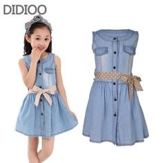 Teenage Girls Dresses Summer Style Sleeveless Denim Dress for Girls Clothing Teens Sundress kids clothes 2 4 6 8 10 12 14 15 Y Gowns For Girls, Dresses Kids Girl, Teenage Girl Outfits, Kids Outfits Girls, Kids Girls, Little Girl Fashion, Kids Fashion, Hairstyles For Gowns, Cheap Summer Outfits