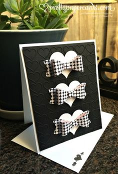 December 31, 2014 Pretty Paper Cards: Tuxedo Bows Envie Stampin' Up! Bow Builder Punch, Happy Heart EF, Stacked With Love DSP Stack