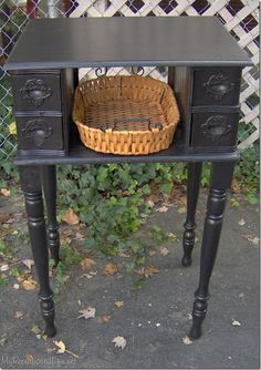 Vintage Sewing re-purposing antique sewing machine drawers - clever - how to use sewing machine drawers to make a great side table. Old White Sewing machine cabinet was used to make a side table.