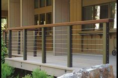 Photos 9 Modern Porch Railing Design On Modern Deck And Deck Railing Ideas Montreal Outdoor Living Porch Railing Designs, Metal Deck Railing, Front Porch Railings, Patio Railing, Balcony Railing Design, Deck Design, Railing Ideas, Cable Railing, Outdoor Railings