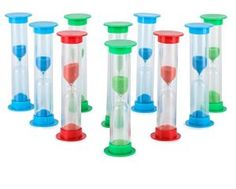 Sand Timer Set (2 Min) Large 10pcs Pack – Colorful Set of Two Minutes Hour Glasses for Kids – Color: Blue, Green, Red  BUY NOW      $19.99   Description — High quality colored Sand Timer including colored Sand! This set of 10 beautiful 2 – min Timer are safe to use and fun to play / work with. — You can use them in the kitchen, while learning with kids, at school, while brushing teeth and for many other things. — Many people use sand timers also for timing training / sports exercises..