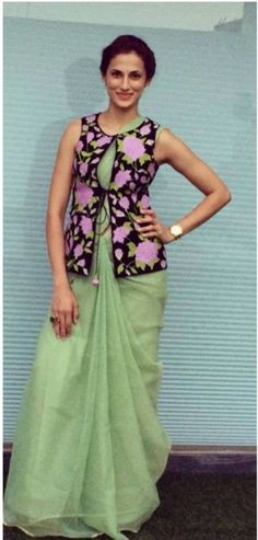 Shilpa Reddy in a sea green cotton saree paired with black and purple coat blouse