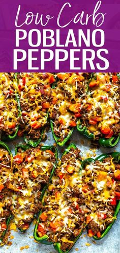 These Low Carb Stuffed Poblano Peppers are a healthy Mexican dinner idea stuffed with ground beef, red peppers, onions, and a topping of cheddar cheese and cilantro! - The Girl on Bloor #stuffedpoblanopeppers #mexicanrecipe #lowcarb
