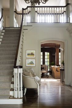Entry of Beechwood residence, designed by Bear-Hill Interiors Entry Stairs, Entry Foyer, Hill Interiors, Small Places, Stairways, My Dream Home, Home Renovation, Future House, Beautiful Homes