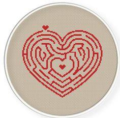 Crossstitch PDF, heart maze,