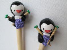 Knitting Penguins Knitting Needles HANDMADE Polymer by DotDotSmile