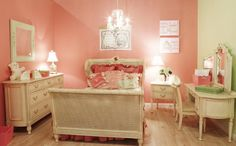 Warm Yellow and Orange Wall Themes with Classic Bedding Sets in Teenage Girls Bedroom Designs Ideas