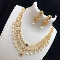 Pearl Necklace Designs, Gold Earrings Designs, Gold Jewellery Design, Necklace Set, Ruby Necklace, Indian Gold Jewellery, Dimond Necklace, Temple Jewellery, Diamond Jewellery