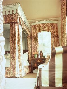brown and cream pattern and stripes ~ Richard Keith Langham design American Interior, French Interior, Interior Design, Beautiful Bedrooms, Beautiful Interiors, French Provincial Home, Striped Chair, Curtain Designs, Dream Bedroom