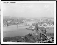 The Point, with 1877 Point Br. and Later Manchester Bridge.  This dates the photo to between about 1910 and 1927.