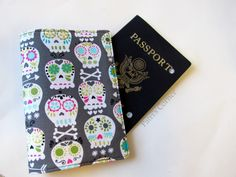 Handmade passport cover - small skulls on grey - classic print - Ready to ship - Travel gift ideas - Gift for her - wedding gift idea - by PatrisCorner on Etsy