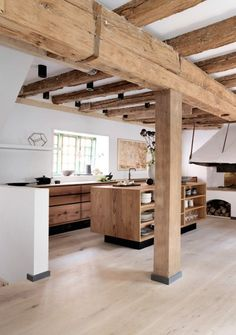 Current kitchen design for the year 2016 - 35 kitchen pictures - rustic kitchen modern country kitchen made of wood - Beautiful Kitchen Designs, Beautiful Kitchens, Kitchen Ikea, Kitchen Wood, Kitchen Sink, Kitchen Island, Hickory Kitchen, Barn Kitchen, Kitchen Walls