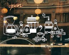 Cake Coffee Cafe Shop Beans Pot Window Sign Vinyl Stickers Wall Decal Removable