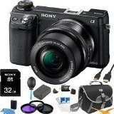 Sony NEX-6L/B NEX6 NEX-6 NEX-6L 16.1 MP Compact Interchangeable Lens Digital Camera with 16-50mm Power Zoom Lens and 3-Inch LED (Black) ULTIMATE BUNDLE with 32GB High Speed Card, Spare Battery, Deluxe Filter Kit, Mini HDMI cable, SD card reader + More ~ $998