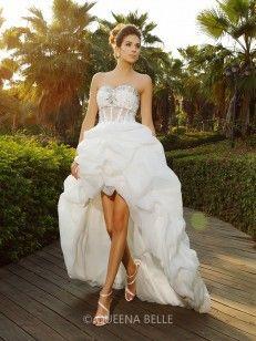A-Line/Princess Sweetheart Asymmetrical Sleeveless Beading Organza Wedding Dresses