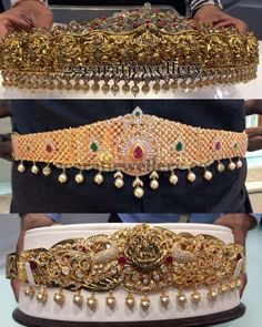 Jewellery Designs: Ethnic yet Elegant Vaddanam Designs 1 Gram Gold Jewellery, Temple Jewellery, Diamond Jewelry, Gold Jewelry, Jewelery, Indian Wedding Jewelry, Bridal Jewelry, Indian Jewellery Design, Jewelry Design