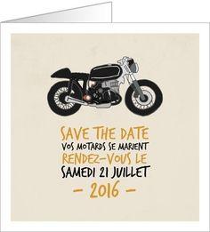 Nouvelle Collection 2016 de Faire-part de Mariage : Motards. Disponible en 3 formats et à personnaliser sur Popcarte.com