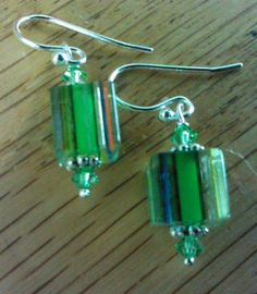 light green cane glass sterling earrings with swarovski crystal beads