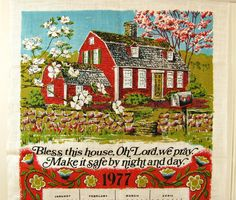 Vintage NOS Tea Towel Bless This House Towel 1977 Calendar Towel Cottage Chic Towel Red House Towel Americana Towel Prayer Towel 70s Kitchen by HipCatRetroVintage on Etsy
