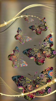 Gold and Colorful Butterfly Wallpaper Flower Phone Wallpaper, Cellphone Wallpaper, Galaxy Wallpaper, Screen Wallpaper, Wallpaper Backgrounds, Iphone Wallpaper, Butterfly Pictures, Butterfly Art, Butterfly Kisses