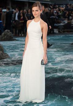 Emma Watson elegant in white halterneck gown at Noah UK premiere ...