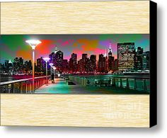 New York City Skyline Painting Stretched Canvas Print / Canvas Art By Marvin Blaine