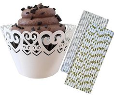 Outside the Box Papers Heart Lasercut Cupcake Wrappers  48 Pack and Heart Theme Paper Drinking Straws 50 Pack Gold Silver White *** To view further for this item, visit the image link.