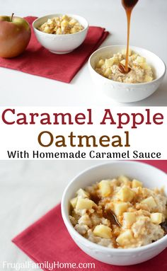 This is an easy breakfast recipe for caramel apple oatmeal. The brown sugar caramel topping is made dairy free and this recipe also has an option for making it gluten free too. The next time you have a caramel apple craving at breakfast make this recipe, Delicious Breakfast Recipes, Brunch Recipes, Fall Recipes, Yummy Food, Pumpkin Recipes, Yummy Recipes, Homemade Caramel Sauce, Caramel Recipes, Sin Gluten