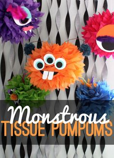 Tissue paper pom-poms are one of my go-tos for inexpensive, simple party decorations with big impact. I wanted a Halloween version of a tissue pom-pom, and I came up with these fun tissue monsters. Little Monster Birthday, Monster 1st Birthdays, Monster Birthday Parties, First Birthdays, Monster Party Games, Halloween Birthday, Halloween Crafts, 2nd Birthday, Halloween Decorations