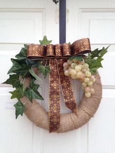 Wine burlap wreath