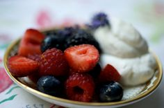 BERRIES WITH LAVENDER CREAM - can anyone say summer!