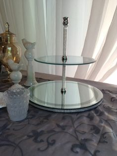 sweets tiered stand, diamond accents, mirrored finish, glam and gorgeous! perfect for mini cupcakes! Tiered Stand, Wedding Rentals, Cake Stands, Mini Cupcakes, High Gloss, Wedding Decorations, Sweets, Weddings, Mirror